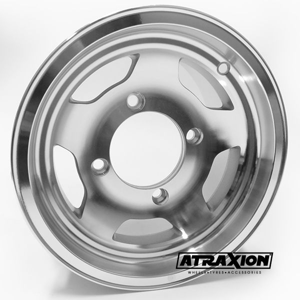 7x12 4x137 ET4B+3N CTR  Cast (-94453) (Douglas Wheels) Silver Polished Front 94453