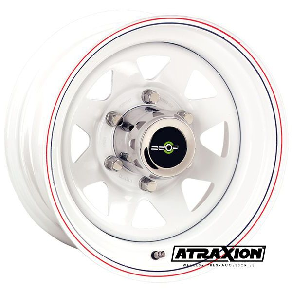7x15 6x139.7 ET12 CTR110 Steel 8 Spoke (Goss) White RA304WH