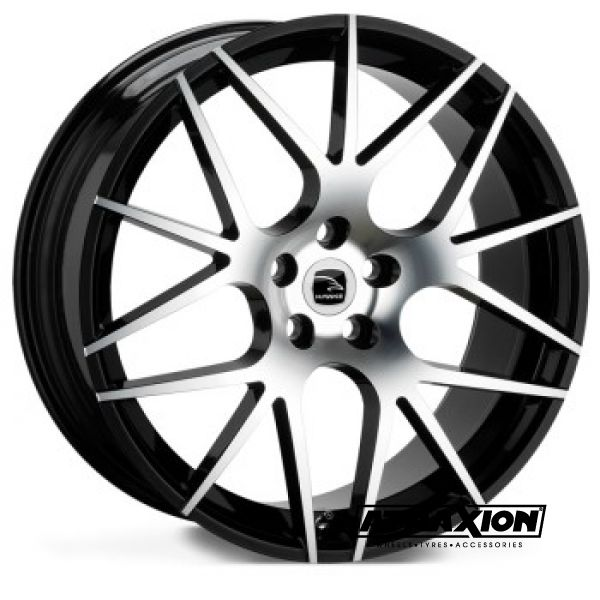 9.5x22 5x120 ET45 CTR74 Alu Astor  (Hawke) Black Polished Black Ring