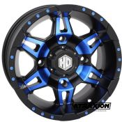 7x14 4x110 ET5B+2N CTR  Hd7 (Sti) Matte Black / Blue Incl. Caps 14HD700-BLU