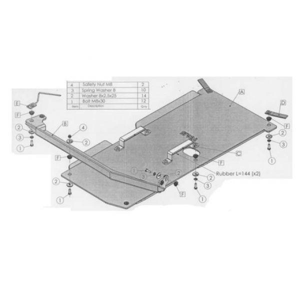Asfir 29-597161 Asfir gearbox skidplate(s) for Mitsubishi L200 (06-15) manual