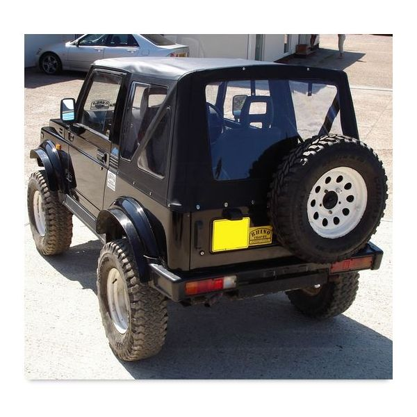 Monsoon standard top in black Ecotop for Suzuki Samurai (82-97)  (SSA.REP.21.CL) with clear windows