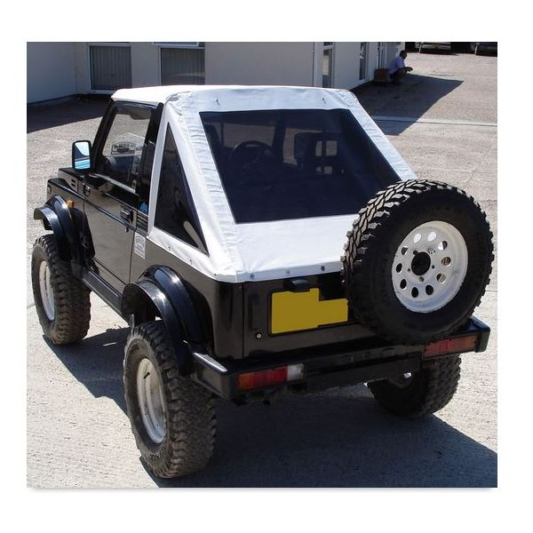 Monsoon fastback in white Ecotop for Suzuki Samurai (82-97)  (SSA.FAS.22.CL) with clear windows