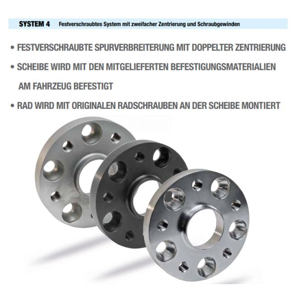 "SCC 11373S4 Spacer SCC System4 25mm 4x101,6 CTR55,1 4x100 Thread:3/8"" UNF-24 Thread Rim:M12x1,5"