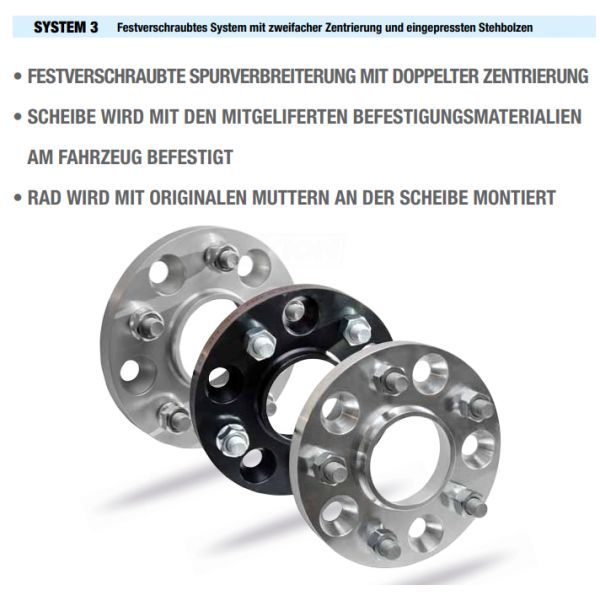 SCC 11568S3 Spacer SCC System3 20mm 5x112 CTR57,1 5x114,3 Thread:M14x1,5 Thread Rim:M12x1,5