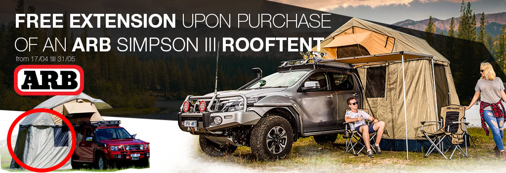 Free extension upon purchase of an ARB Simpson III rooftent