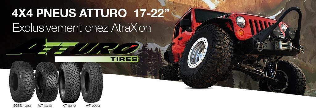 4X4 pneus Atturo 17-22 inch. Exclusivement chez Atraxion.com