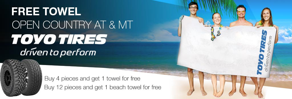 Free towel of TOYO if you purchase an TOYO MT or AT